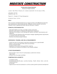 Construction Superintendent Resume Sample Construction Foreman Resume Examples Mechanical Field Engineer