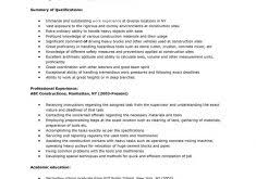 sample of a construction worker resume construction resume sample