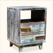 distressed wood end table distressed reclaimed wood end table with shelf and drawers of