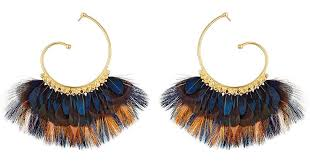 gas earrings lyst gas bijoux buzios gold plated earrings with feathers in