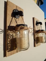 Wall Sconce Set Of 2 Mason Jar Candle Holder Wall Sconce Set Of 2 Industrial Pipe