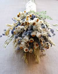 wedding oats custom brides or bridesmaid bouquet daisies and dried blue
