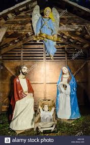 outdoor nativity christmas display of holy family in traditional outdoor nativity