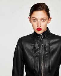 biker jacket cropped leather biker jacket jackets woman zara united states