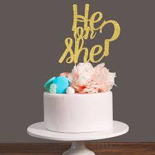 gender reveal cake toppers gold silver black glitter he or she gender reveal cake topper for