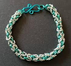 silver bracelet gift images Byzantine silver and teal chain maille bracelet teal and silver jpg