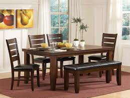 rustic indoor dining room with dark brown oak wood rectangular