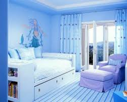 blue wall paint color with blue color curtains mixing white bed