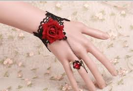 crystal ring bracelet images Vintage gothic red rose lolita bracelet with crystal ring 11 99 jpg