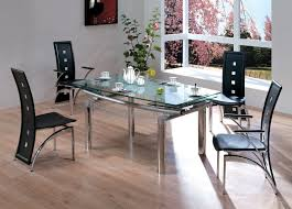 White Dining Table With Black Chairs Rectangle Glass Dining Table With Silver Steel Legs Combined With