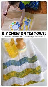Kitchen Towel Craft Ideas Kid Painted Tea Towel Mother U0027s Day Craft Paint Chevron Towels