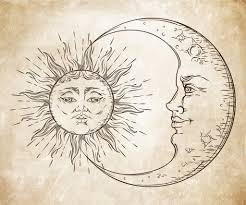 antique style sun and crescent moon boho chic