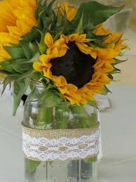 lace ribbon in bulk reception table arrangements sunflowers in jars with burlap
