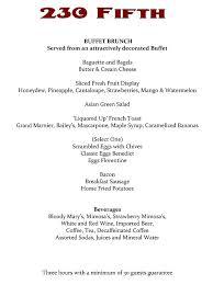 menu for brunch 230 fifth brunch menu