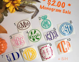monogram stickers monogram sticker etsy