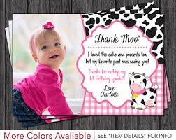 birthday thank you card cow thank you card etsy