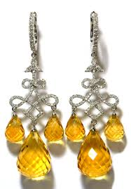 chandelier earrings citrine diamond chandelier earrings in 18k white gold tns