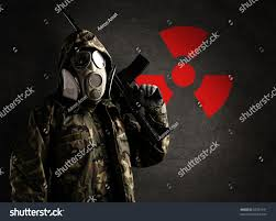 gas mask for halloween costume armed soldier wearing gas mask against stock photo 83234191