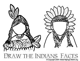 thanksgiving indians coloring pages printouts u0026 draw indians faces
