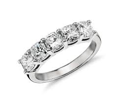 1 Carat Cushion Cut Engagement Ring Classic Cushion Cut Five Stone Diamond Ring In Platinum 2 Ct Tw