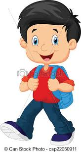 boy clipart vector illustration of school boy walking vector clip