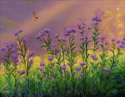 statice flowers painting by cecilia brendel