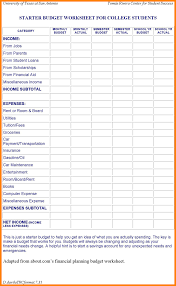 Financial Planning Worksheet 10 College Student Budget Template Monthly Bills Template