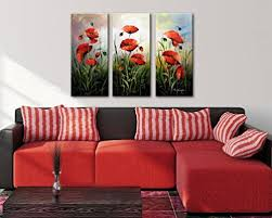 decor painting noah art hand painted flower art red poppies 3 piece gallery