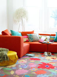 Red Floral Sofa by Bright Living Room With Floral Rug Red Sofa And Colorful Pillow