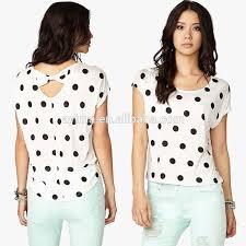top design polka dot tops sleeve bow back top new design