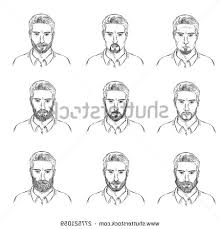 mens hairstyles vector set of sketch faces with beards types for