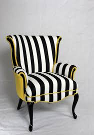 Yellow Dining Room Chairs Black And White Stripe Chair With Yellow Velvet Vintage Wing Back
