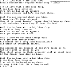 U Got It Bad Lyrics Peter Paul And Mary Song Im In Love With A Big Blue Frog Lyrics