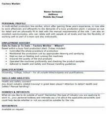 Sample Resume For Factory Worker by Cv Examples Factory Workers Uk Simple Resume Format For Job