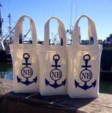 nautical bags new bedford wine bag canvas tote nautical customizable