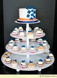 wedding cupcake tower navy hydrangea wedding cupcake tower cupcakes the hudson cakery