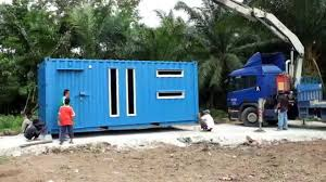 rumah kontena container house malaysia unloading process youtube