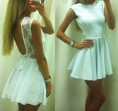 dress white lace loose open back pretty backless white