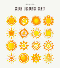 simple sun icon set summer concept illustrations stock vector