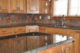 slate backsplash kitchen granite countertops and tile backsplash ideas eclectic kitchen