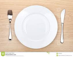 how to set a table with silverware empty white plate with silverware on wooden table stock image