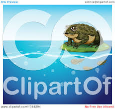 clipart of a frog toad on a lily pad floating over tadpoles