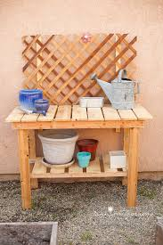Free Wooden Potting Bench Plans by Pallets To Potting Bench Tutorial Impressions By Jani