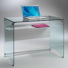 bureau multimedia pas cher scrivania per computer scriba in vetro trasparente 100 cm