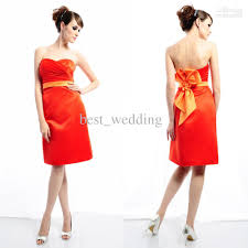red orange and yellow bridesmaid dresses wedding short dresses