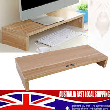 wood color monitor stand led lcd computer riser desktop shelf