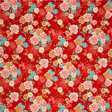 Flower Fabric Design Kokka Red Cherry Blossom Rose Flower Fabric With Gold Cute