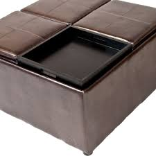 luxury modern leather ottoman coffee table with shelves and wooden