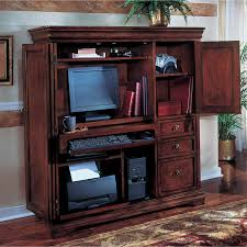 Hardwood Computer Desk Enchanting Dark Brown Oak Wood Computer Desk Cabinet Printer Hutch