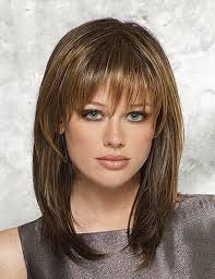 medium with bangs haircut long straight light brown with face